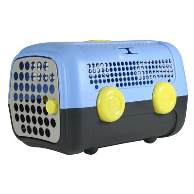 AUTO Pet Transport Carrier Crate Blue Grey Yellow For Small Dogs Cats Animals