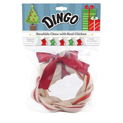 Dingo Rawhide Holiday Wreath Meat In The Middle Treat For Dogs 105gm