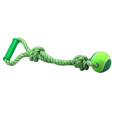 Ultra Fresh Teeth And Breath Single Ball Tugger Rope With Handle Toy For Dog