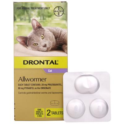 Drontal Allwormer For Cats New Easy Dose Shape 4kg 2 Tablets