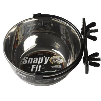 Midwest Snapy Fit Stainless Steel Crate And Cage Bowl For Cats And Dogs 10oz (295ml)
