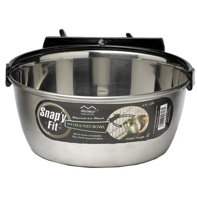 Midwest Snapy Fit Stainless Steel Crate And Cage Bowl For Cats And Dogs 32oz (946ml)