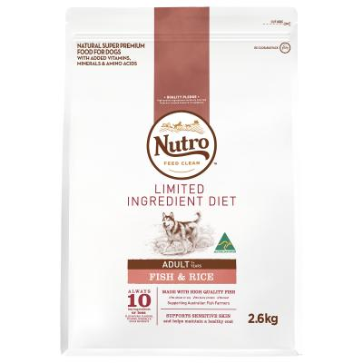 Nutro Limited Ingredient Diet Fish And Rice Adult Dry Dog Food 2.6kg
