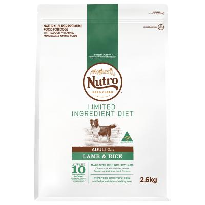Nutro Limited Ingredient Diet Lamb And Rice Adult Dry Dog Food 2.6kg