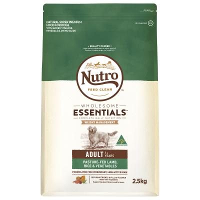 Nutro Wholesome Essentials Weight Management Pasture Raised Lamb Rice Vegetable Dry Dog Food 2.5kg