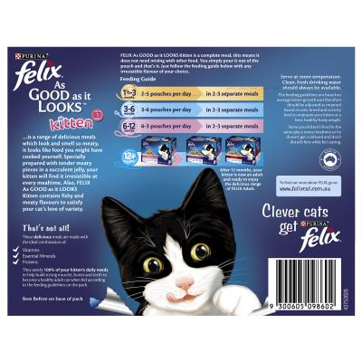 Felix Multipack Kitten Menu Chicken Tuna Beef In Jelly Pouches Wet Cat Food 85gm x 12
