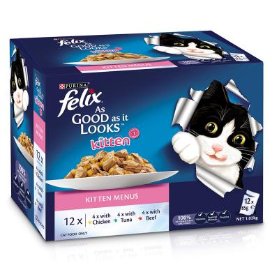Felix Multipack Kitten Menu Chicken Tuna Beef In Jelly Pouches Wet Cat Food 85gm x 48
