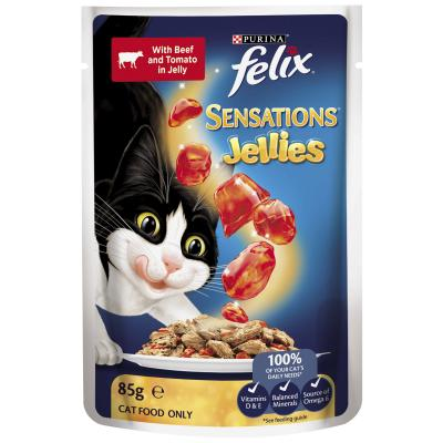 Felix Multipack Sensations Favourites Menu Beef Chicken Ocean Fish In Jelly Pouches Wet Cat Food 85gm x 12