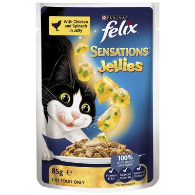 Felix Multipack Sensations Favourites Menu Beef Chicken Ocean Fish In Jelly Pouches Wet Cat Food 85gm x 48