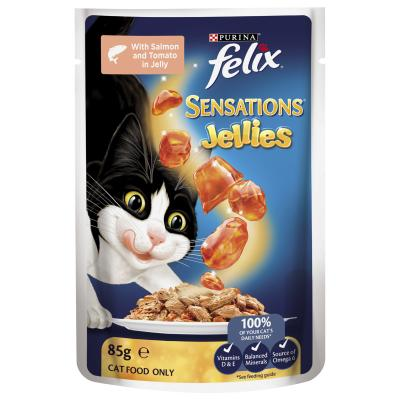 Felix Multipack Sensations Mixed Menu Mackerel Salmon Turkey In Jelly Pouches Wet Cat Food 85gm x 48