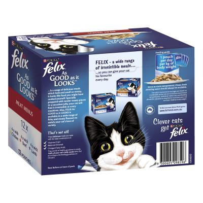 Felix Multipack Meat Menu Chicken Lamb Beef In Jelly Pouches Wet Cat Food 85gm x 48