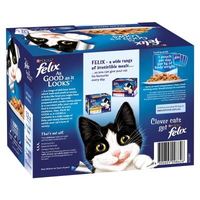 Felix Multipack Ocean Menu Tuna Salmon Sardine In Jelly Pouches Wet Cat Food 85gm x 48