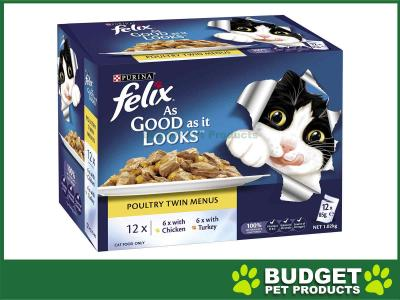 Felix Multipack Poultry Menu Chicken Turkey In Jelly Pouches Wet Cat Food 85gm x 12
