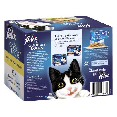 Felix Multipack Poultry Menu Chicken Turkey In Jelly Pouches Wet Cat Food 85gm x 48