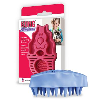 KONG ZoomGroom Shedding And Bathing Brush Red For Dogs RASPBERRY