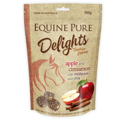 Equine Pure Delights Apple Cinnamon Molasses Chia Training Reward Treats For Horses 500g