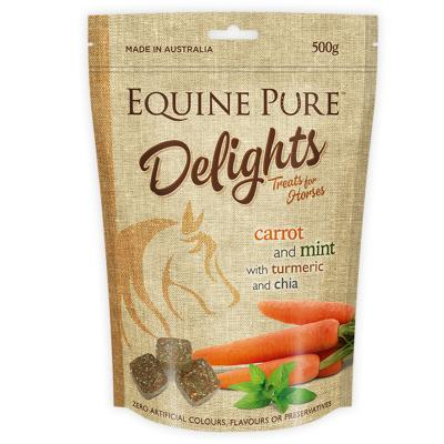 Equine Pure Delights Carrot Mint Turmeric Chia Training Reward Treats For Horses 500g