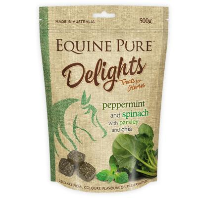Equine Pure Delights Peppermint Spinach Parsley Chia Training Reward Treats For Horses 500g