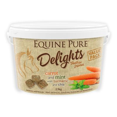 Equine Pure Delights Carrot Mint Turmeric Chia Training Reward Treats For Horses 2.5kg