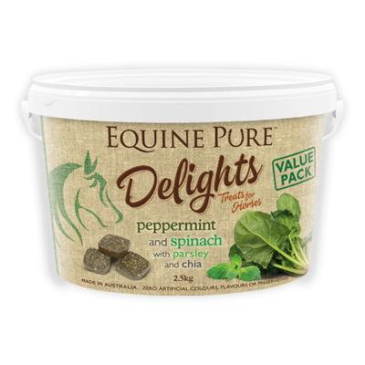 Equine Pure Delights Peppermint Spinach Parsley Chia Training Reward Treats For Horses 2.5Kg
