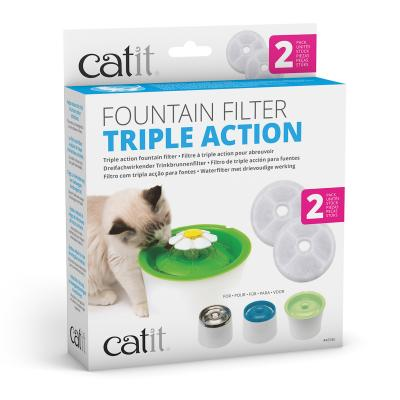 Catit 2.0 Senses Flower Water Fountain Triple Action Water Softening Replacement Filter For Cats 2 Pack