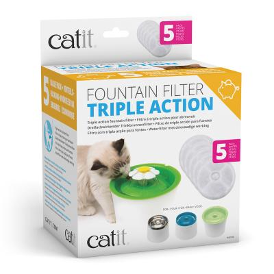 Catit 2.0 Senses Flower Water Fountain Triple Action Water Softening Replacement Filter For Cats 5 Pack