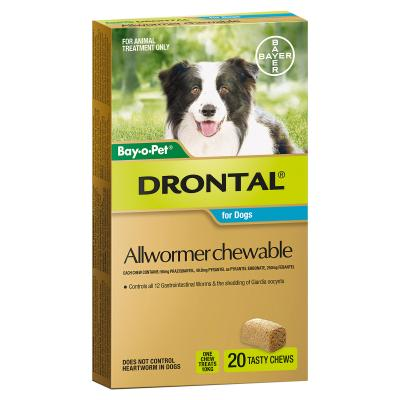 Drontal Allwormer For Dogs Medium 3-10kg 20 Chews SHORT EXPIRY 11/18