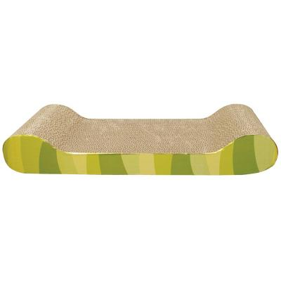 Catit Design Senses Corrugated Cardboard Scratcher With Catnip Green Jungle Stripes Lounger Style For Cats