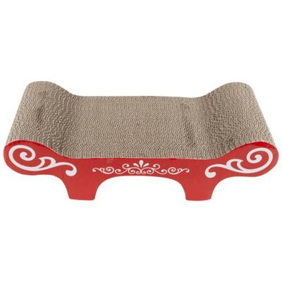 Catit Design Senses Corrugated Cardboard Scratcher With Catnip Red Urban Pattern Bench Style For Cats