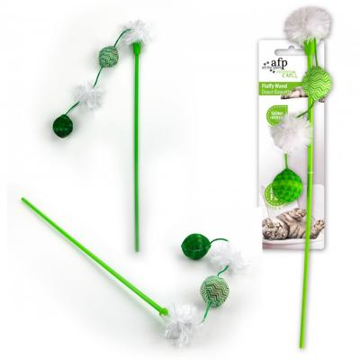 AFP Modern Cat Various Colour Fluffy Wand Teaser Toy For Cats