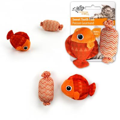AFP Modern Cat Various Colour Sweet Tooth Fish And Candy With Crinkle Toy For Cats