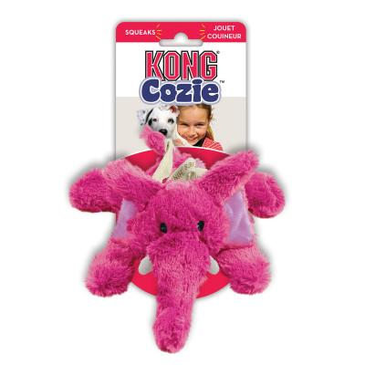 KONG Cozie Elmer Elephant Plush Squeak Medium Toy For Dogs