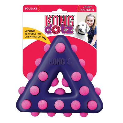 KONG Dotz Triangle Small Dental Squeaker Bounce Toy For Dogs