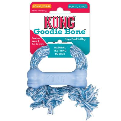 KONG Puppy Goodie Bone With Rope XSmall Toy For Dogs