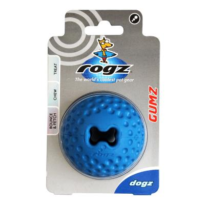 Rogz Gumz Bounce And Treat Ball Blue Medium Toy For Dogs