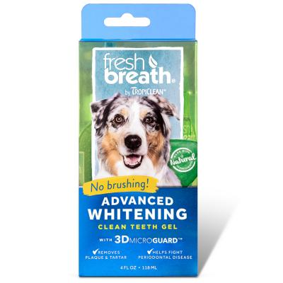 Tropiclean Fresh Breath Advanced Whitening Clean Teeth Gel 118ml Bonus Fresh Breath Drops For Dogs 29ml