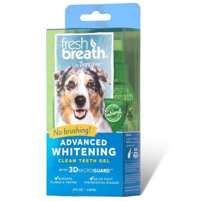 Tropiclean Fresh Breath Advanced Whitening Clean Teeth Gel 118ml Bonus Fresh Breath Drops For Dogs 29ml