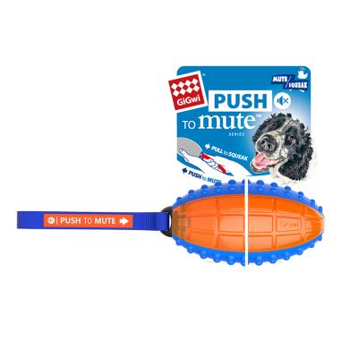 GiGwi Push To Mute Pull to Squeak Rugby Ball Rubber Toy For Dogs (6177)