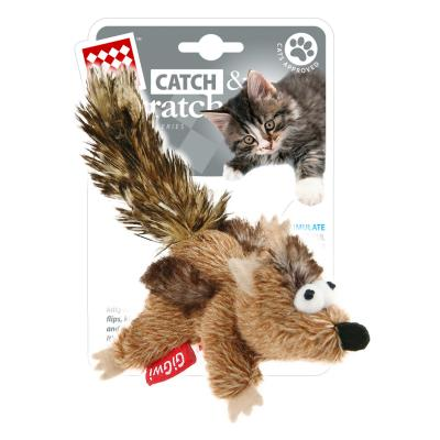 GiGwi Catch And Scratch Catnip Plush Chipmunk Toy For Cats
