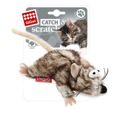 GiGwi Catch And Scratch Catnip Plush Mouse Toy For Cats