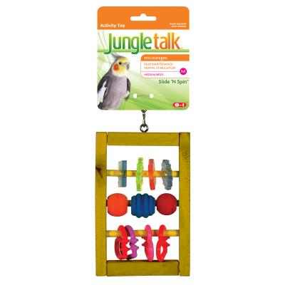 Jungle Talk Slide N Spin Abacus Activity Toy Medium For Birds