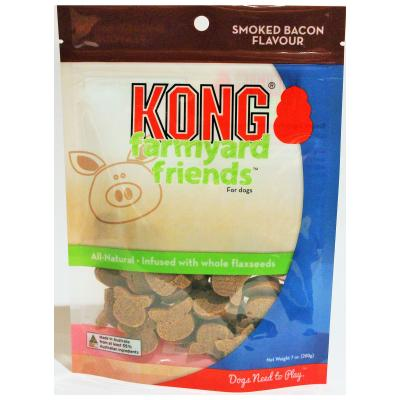 KONG Farmyard Friends Smoked Bacon Flavour Biscuit Treats For Dogs 200gm
