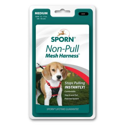 Sporn Stop Pulling Mesh Harness Black For Medium Dogs