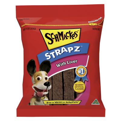 Schmackos Strapz With Liver Treat For Dogs 500g