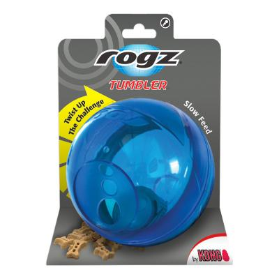 Rogz Tumbler Treat Dispenser Puzzle Ball Blue Toy For Dogs