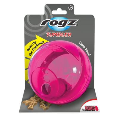 Rogz Tumbler Treat Dispenser Puzzle Ball Pink Toy For Dogs