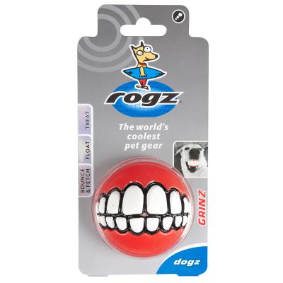 Rogz Grinz Treat Dispensing Ball Red Toy Large For Dogs