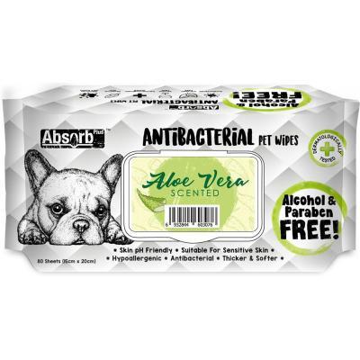 Absorb Plus Antibacterial Aloe Vera Pet Grooming Wipes For Dogs 80 Pack