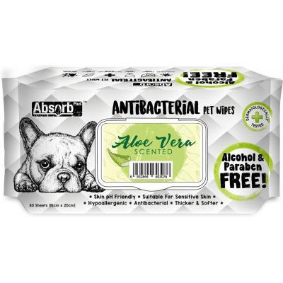 Absorb Plus Antibacterial Aloe Vera Pet Grooming Wipes For Dogs 80 Pack