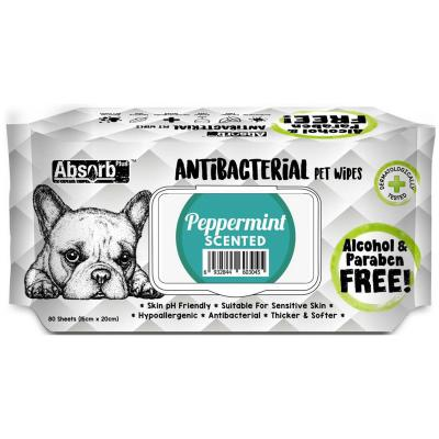 Absorb Plus Antibacterial Peppermint Pet Grooming Wipes For Dogs 80 Pack